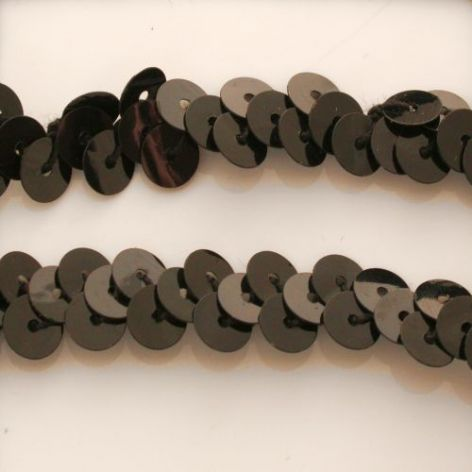 DISCONTINUED 10mm Glossy Black Stretch Sequin Braid.
